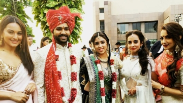 "Rohit Sharma and Ritika Sajdeh with Bollywood actress Sonakshi Sinha (left) after their wedding. (Photo Courtesy: <a href=""https://www.facebook.com/RohitSharmaOfficialPage/?fref=ts"">Rohit Sharma's Facebook page</a>)"