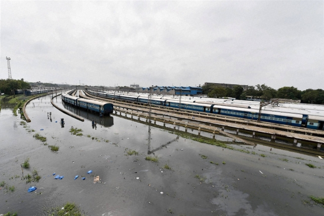 A view of the flooded Chennai Central Station on Thursday after heavy rainfall. (Photo: PTI)