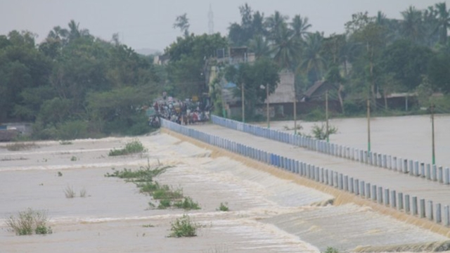 The construction of bridge has been 'completed' without laying approach road to the islet.