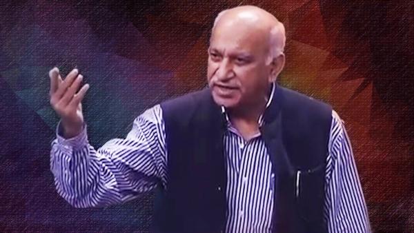 File photo of MJ Akbar speaking in the Rajya Sabha.