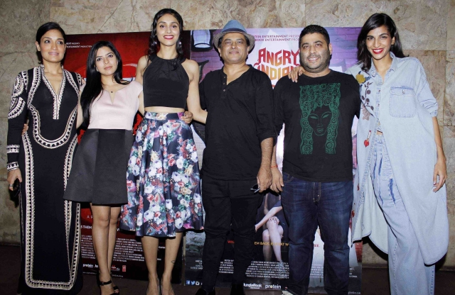The ladies from <i>Angry Indian Goddesses </i>seen here with director Pan Nalin (left, wearing a hat) and co-producer Gaurav Dhingra (Photo: Yogen Shah)
