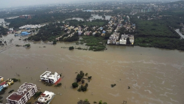 An aerial view of flood-hit Chennai on Thursday following heavy rains. (Photo: PTI)