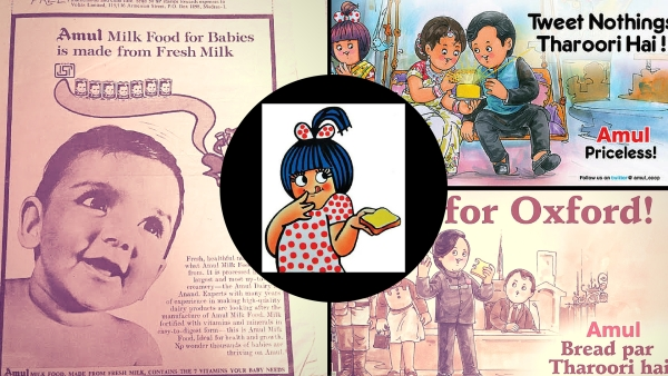 A collage of the Tharoor family cartoon and advertisements. (Photo: <b>The Quint</b>)