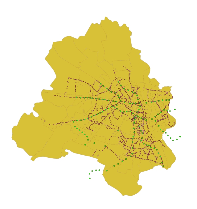 Map showing bus stop locations around Delhi.