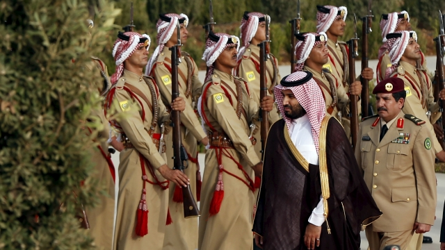 Saudi Arabia's 30-year-old crown prince and defence minister, Mohammed bin Salman, inspects troops.