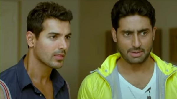 "A still of John Abraham and Abhishek Bachchan from Dostana. (Photo: <a href=""https://www.youtube.com/watch?v=66aCV953de4"">YouTube/DharmaProductions</a>)"