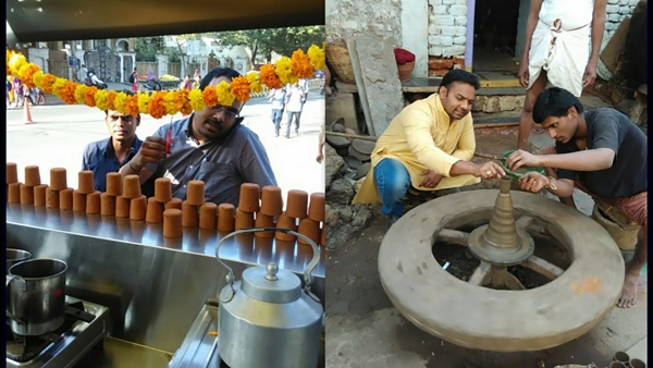 The tea stall (left) and the pots being made. (Photo: The News Minute)