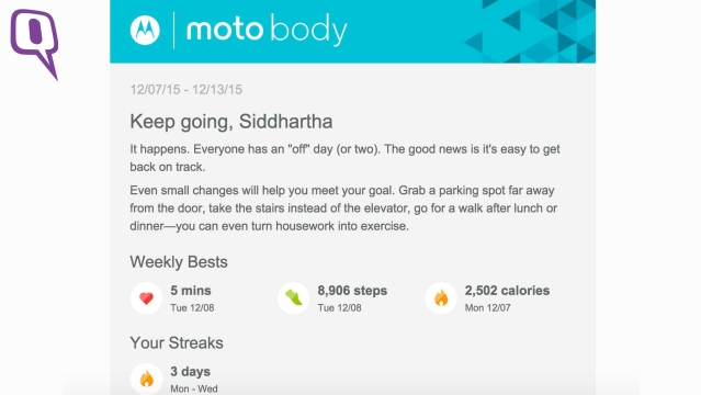Motorola Moto 360 2nd Gen's Moto Body app gives you a lot of fitness data. (Photo: <b>The Quint</b>)
