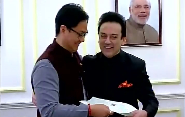 Adnan Sami being granted Indian citizenship by Kiren Rijiju (Photo: ANI)