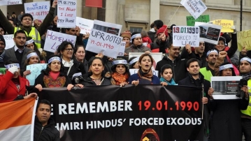 """Protests in remembrance of the  day that drove any Kashmiri Pandit's out of the Kashmir valley. (Photo: Pawan Durani's <a href=""""https://twitter.com/PawanDurani"""">Twitter Page</a>)"""