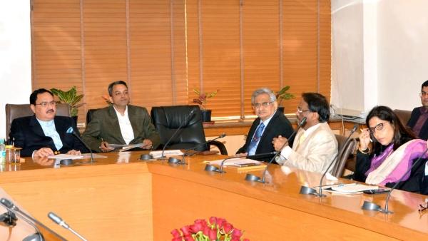 Health Minister JP Nadda at a meeting. (Photo: IANS)