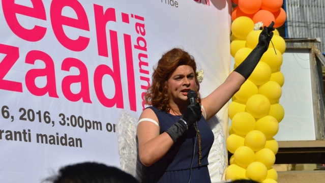 Harish Iyer dressed up as a woman for the Mumbai Gay Pride Parade.
