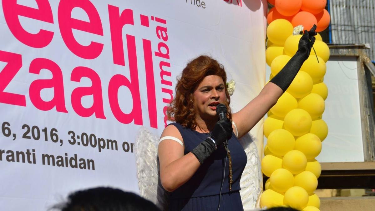Harish Iyer dressed up as a woman for the Mumbai Gay Pride Parade.