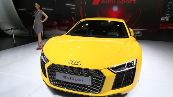 The Audi R8 V10 Plus on display at the Delhi Auto Expo 2016. (Photo: <b>The Quint</b>)
