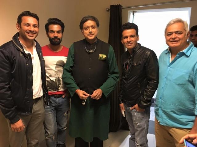 Apurva Asrani with Rajkumar Rao, Shashi Tharoor, Manoj Bajpayee, Hansal Mehta (Photo courtesy: Facebook)