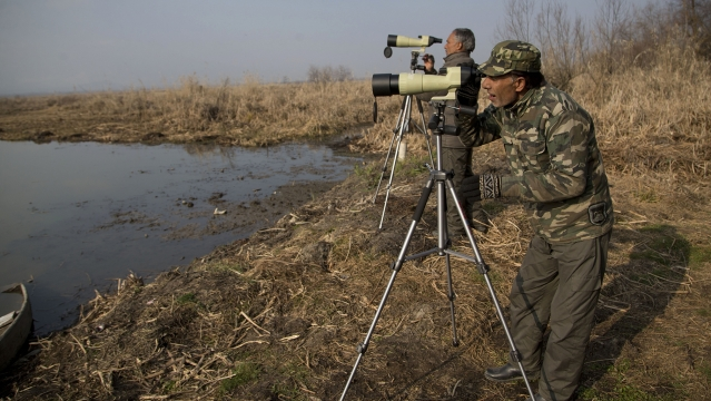 Kashmiri wild life official participate in the monitoring of water-bird population. (Photo: AP)