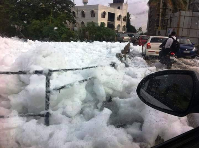 Bellandur Lake spewing froth in Bengaluru. (Photo Courtesy: The News Minute)