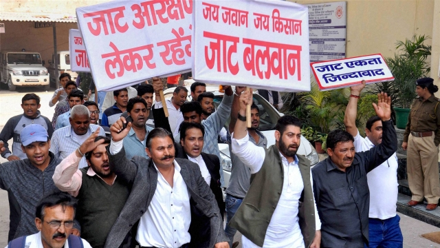 Faridabad: Members of the Jat community take out a march demanding reservation in Faridabad. (Photo: PTI)