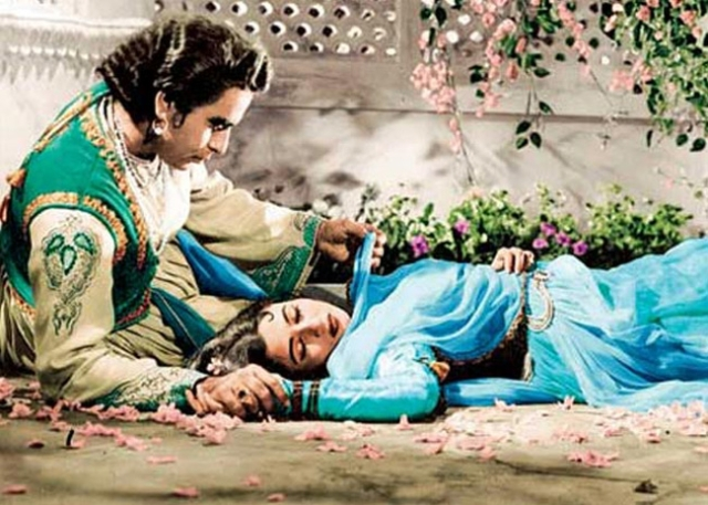 Dilip Kumar and Madhubala in a scene from <i>Mughal-e-Azam</i>