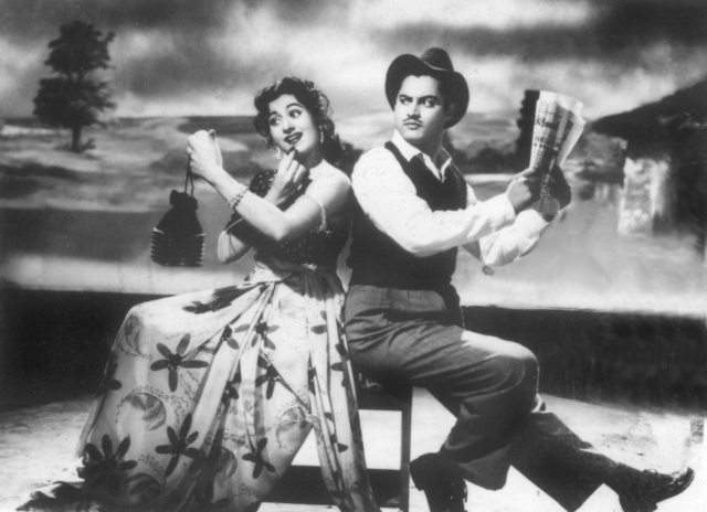 Madhubala and Guru Dutt in a scene from <i>Mr and Mrs 55</i>