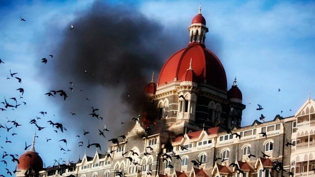 Moments after the dome of the Taj Mahal Hotel exploded during the 26/11 Mumbai attack.