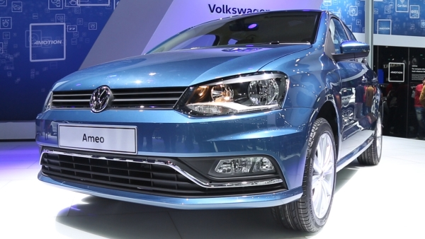 Volkswagen's entrant into the compact sedan segment, Ameo, on display at the Delhi Auto Expo 2016. (Photo: <b>The Quint</b>)