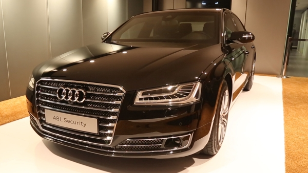 The Audi A8L Security on display at the Delhi Auto Expo 2016. (Photo: <b>The Quint</b>)