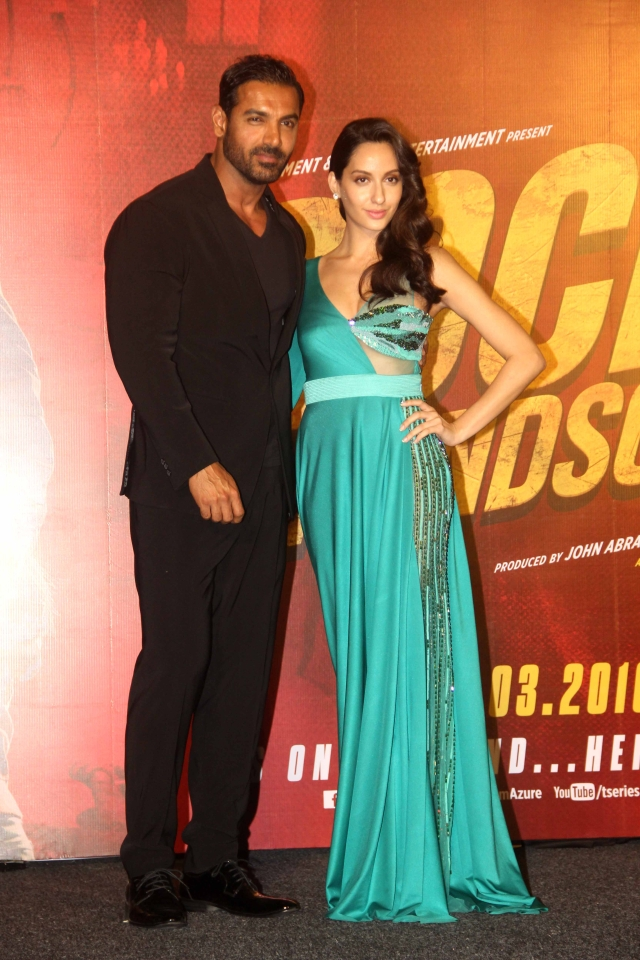 John Abraham and Nora Fatehi of Bigg Boss9 fame at the trailer launch of Rocky Handsome (Photo: Yogen Shah)