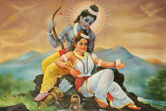 "Rama and Sita trying to take the perfect selfie. (Photo Courtesy: Tumblr/<a href=""http://selfiegods.tumblr.com/"">Gods taking Selfie</a>)"