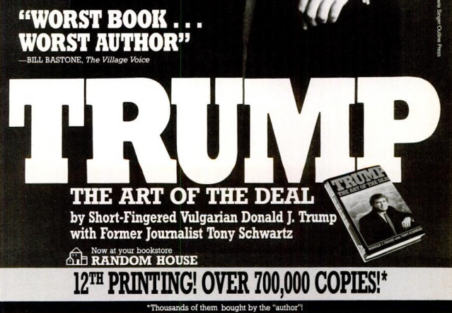 A satirical ad for <i>The Art of the Deal </i>in Spy magazine. (Photo Courtesy: Spy Magazine)