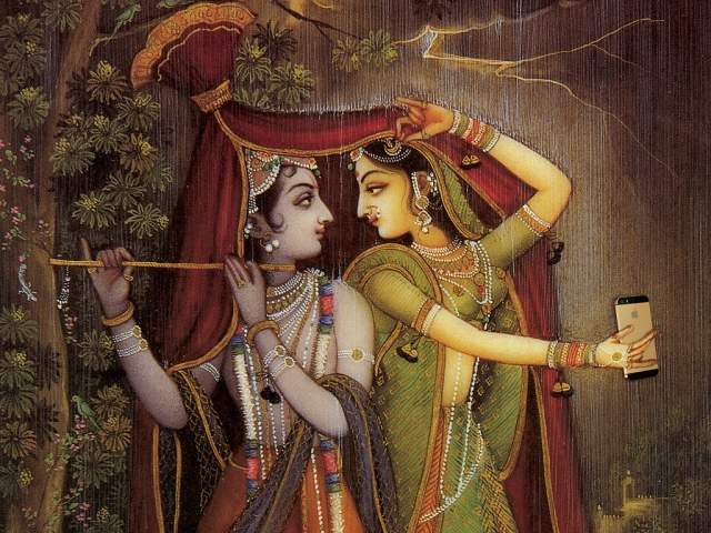 "Rainy day selfies with Radha and Krishna. (Photo Courtesy: Tumblr/<a href=""http://selfiegods.tumblr.com/"">Gods taking Selfie</a>)"