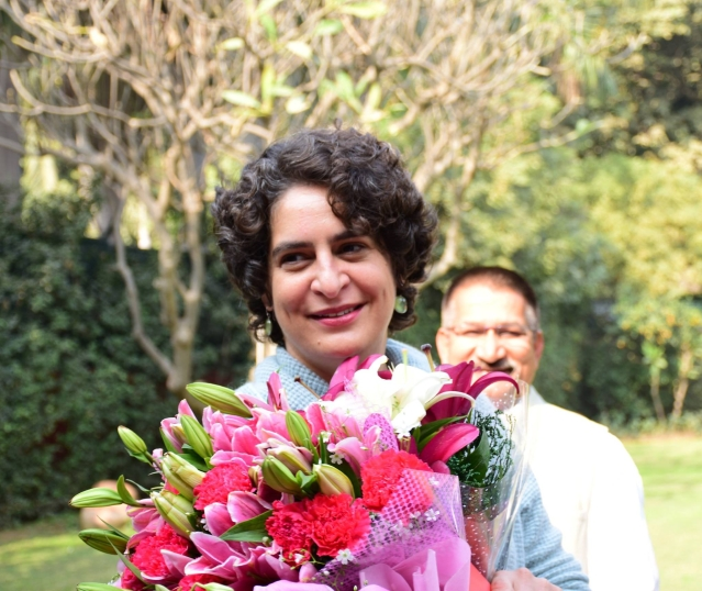 Priyanka Gandhi greeted by party workers on her birthday.