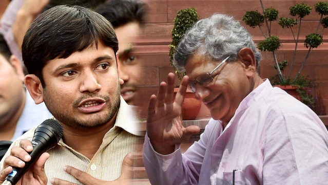 Kanhaiya Kumar (left) and Sitaram Yechury. (Photo: PTI/Altered by <b>The Quint</b>)