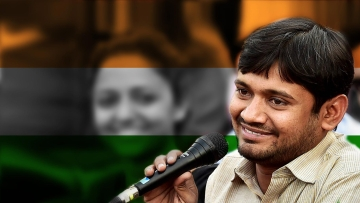 JNU Students' Union Kanhaiya Kumar. (Photo: PTI/Altered by <b>The Quint</b>)