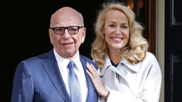 News Corp Executive Chairman Rupert Murdoch and Jerry Hall leave Spencer House, London, after getting married on Friday. (Photo: AP)