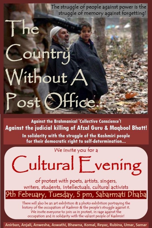 Poster from 9th February JNU event 'against the judicial killing' of Maqbool Butt. (Photo Courtesy: The Country Without a Post Office Facebook page)