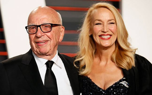 Rupert Murdoch and model Jerry Hall arrive at the Vanity Fair Oscar Party in California in February. (Photo: Reuters)