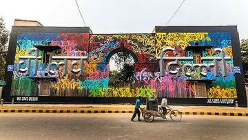 "A collaborative piece by French artists Lek and Sowat and Indian hand type artist and artistic director of 'st+art India', Hanif Kureshi. (Photo Courte: St+Art India's <a href=""https://www.instagram.com/startindia/"">Instagram</a>)"