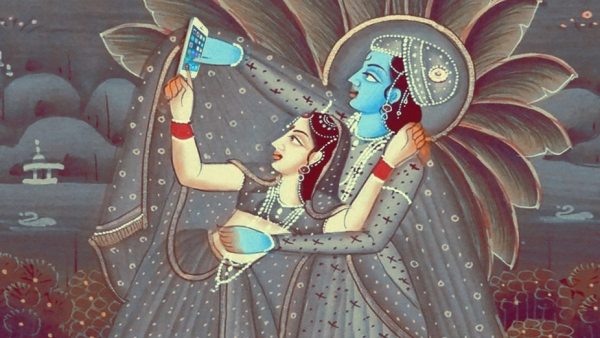 "Radha-Krishna taking a selfie (Photo Courtesy: Tumblr/<a href=""http://selfiegods.tumblr.com/"">Gods taking Selfie</a>)"