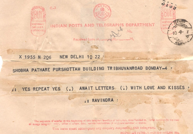 The telegram sent by Ravindra Mhatre, to convey his nod to the marriage proposal from Dr Shobha Mhatre nee Pathare's family. (Photo: Asha D'Souza)