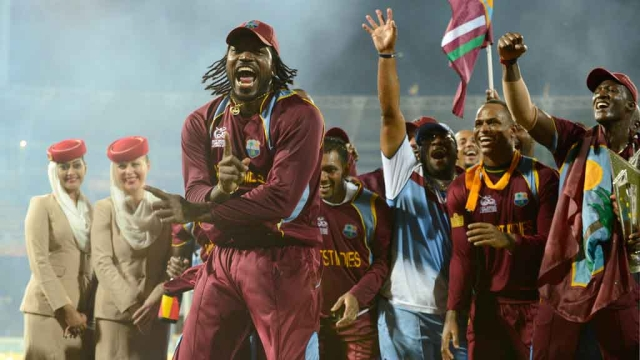Chris Gayle celebrates after West Indies won the 2012 World T20. (Photo: Reuters)