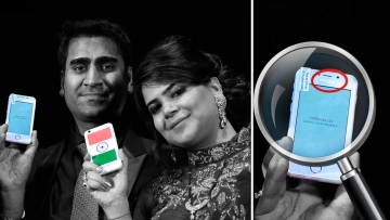Ringing Bells CEO Mohit Goel with his wife Dhaarna Goel during the launch event holding the Freedom 251. (Photo: PTI)