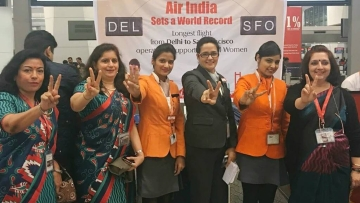 "Celebrating the take-off of the longest operated flight with all women crew. (Photo: Facebook/<a href=""https://www.facebook.com/AirIndia/photos/a.591175584357647.1073741845.251462618328947/691110974364107/?type=3&theater"">Air India</a>)"