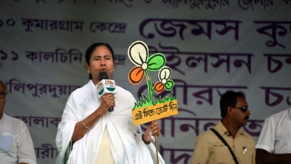 West Bengal Chief Minister and TMC supremo Mamata Banerjee at a rally in Alipurduar of West Bengal on 12 April 2016. (Photo: IANS)
