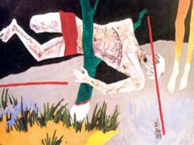 A photo of artist MF Hussain's 'Tribute to Safdar'.