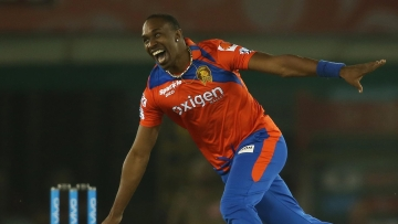 Dwayne Bravo recorded his best IPL figures with a four-wicket haul against Kings XI Punjab at Mohali on Monday. (Photo: Shaun Roy/ IPL/ SPORTZPICS)