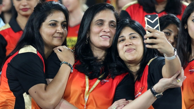 Kaveri Maran Owner of Sunrisers Hyderabad celebrates the win of her team with a selfie (Photo: BCCI)