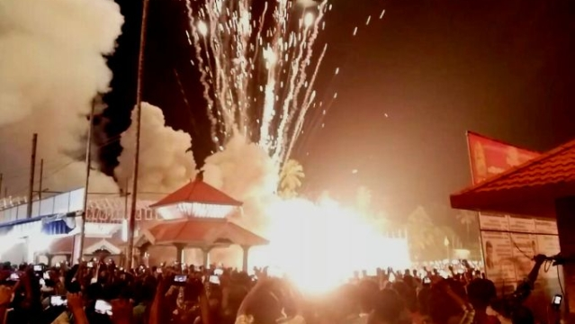 Fireworks on display at Puttingal temple in Kollam before the mishap. (Photo: The News Minute)