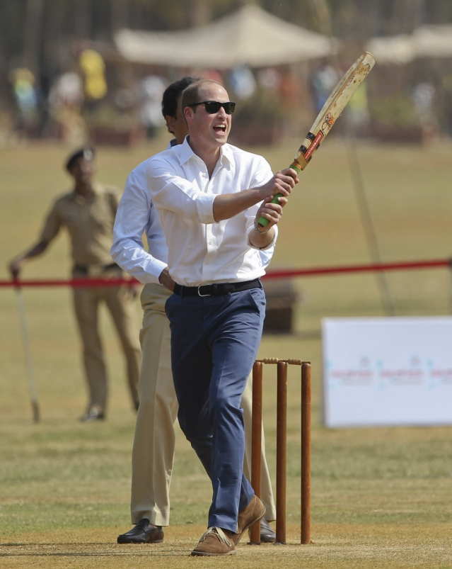 Prince William at a charity cricket match in Mumbai. (Photo: AP)