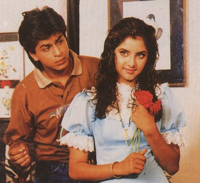 Divya was the biggest sensation in Bollywood during the early 90s. Seen here with Shah Rukh Khan.
